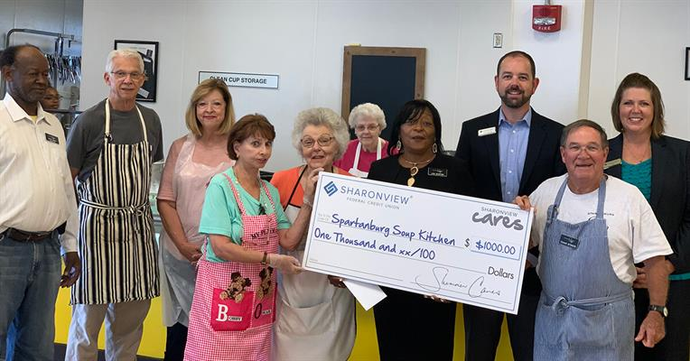 Sharonview makes financial donation to soup kitchen