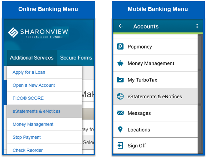 eStatements locations on both online and mobile banking menus